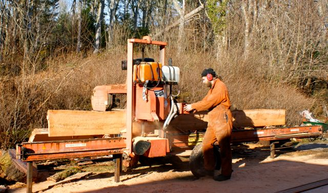 Cutting timber on the wood-mizer